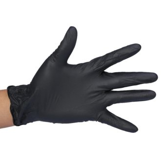 100Pcs/Box Tattoo Nitrile Disposable Latex Gloves Black S - intl