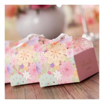 100sets Colorful Floral Elegant Floral Design Wedding/Events/Party/Special Occasion Favor Box with Ribbon Gift Box