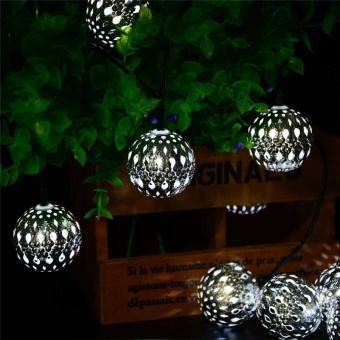 10LED 11ft Fairy Silver Metal Globe String Light Solar Powered For Outdoor Christmas Tree Led Solar Light - intl