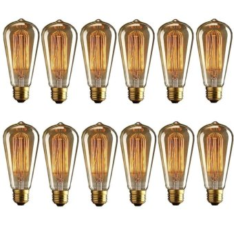 10Pcs LED Edison Bulb E27 Retro Filament Carbon Vintage Lamp Warm White 60W - intl