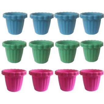 12 pcs Assorted Color Plastic Flower Pots Small