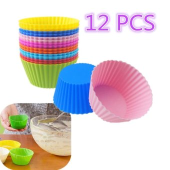 12pcs Silicone Gel Round Cake Muffin Cupcake Liner Baking Cup Mold Colorful - intl