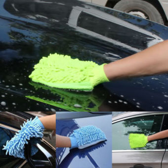 1Pc Super Mitt Microfiber Fiber Car Glove Cleaning Cloth Towel WashDry Tool - intl