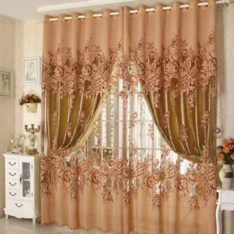 1pcs Elegant Voile Curtains Home Window Curtain Peony Tulle Sheer Curtains - intl