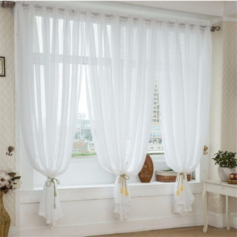 White Faux Linen Yarn Curtain Tulle Sheer Curtains Net Curtain Window Panel for Living room Bedroom