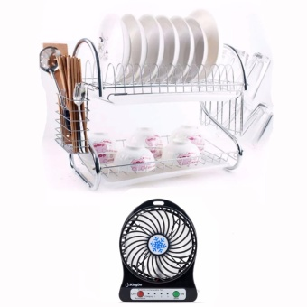 2 Layer Dish Drainer / Kitchen Rack with Mini Portable Fan (Color May Vary)