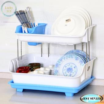 2 Layer Kitchen Utensils and Dish Drainer Organizer Tray Blue
