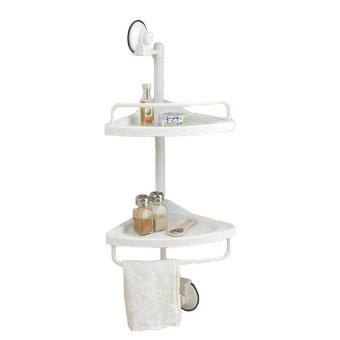 2 Layer Kitchen/Bathroom Suction Corner Shelf (White)