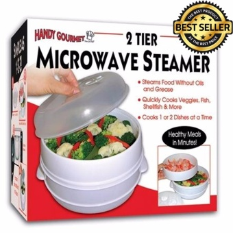 2 Tier Microwave Steamer To Cook & Steam Vegetables Fish Rice