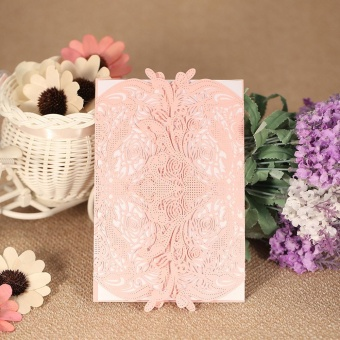 20pcs Invitation Holders + 20pcs Inner Sheets Wedding Invitation Card Set Pearl Paper Laser Cut Hollow Floral Pattern Invitation Cards - intl