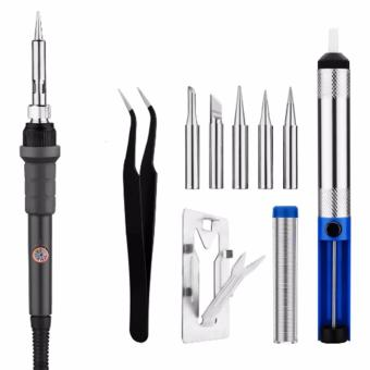 220V 60W Electric Temperature Adjustable Soldering Iron Repair Tool Kit 5pcs Iron Tips Solder Sucker Stand Solder Wire Tweezer - intl