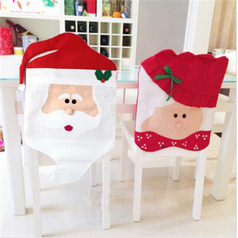 2pcs Christmas Kitchen or Dining Room Hat Chair Slip Covers