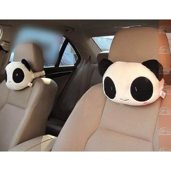 2pcs Panda Plush Car Pillow Head Pillow Neck Pillow - intl