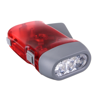 3 LED White Light Hand Pressing Torch Manual Dynamo Flashlight No Battery Red - intl