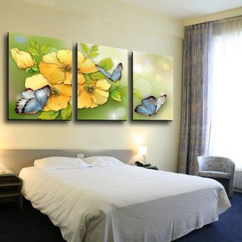 3 Piece Yellow Flower and Butterfly Modern Home Wall Wedding Decor Canvas Picture Art HD Print Painting On Canvas Arts (No frame)