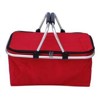 31L Large Capacity Insulated Picnic Food Basket Cooler Bag Collapsible with Dual Carrying Handles for Hiking Shopping Holidays Outdoor Travel Picnic Red - intl