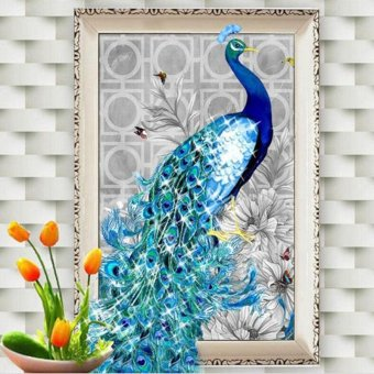 32x45cm DIY 5D Diamond Embroidery Diamond Mosaic New Peacock Soul Love Round Diamond Painting Cross Stitch Kits Home Decoration (Left) - intl