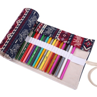 36 Hole Canvas Roll-up Wrap Pencil Bag Drawing Brush HolderThai Elephant Pattern Sketching Case - Dark Blue + Red - intl
