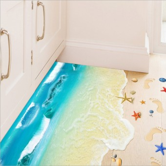 3D beach bathroom shower room living room sticker wall adhesive paper