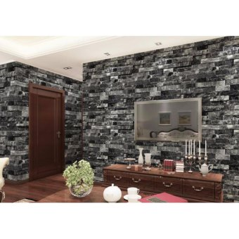 3D Brick Pattern PVC Wallpaper Coffee Shop Background Retro Wall Art DIY Eco-friendly Antique Wall Paper Sticker - intl