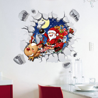 3D Christmas holiday decorative wall adhesive paper