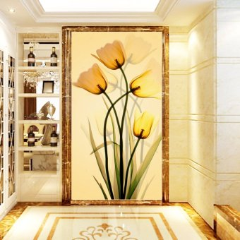 3D stereoscopic large painting wall mural wallpapersimply-furnished living room entrance hallway wallpaper beautifultulips(No frame)