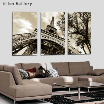 3Pcs/Set Modern Picture Canvas Painting Wall Pictures ForDecoration Paris City Eiffel Tower Modular picture (No Frame)