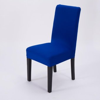 4 Pcs Simple Plain Elastic Dining Chair Cover - Royal Blue - intl