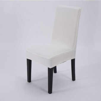 4 Pcs Simple Plain Elastic Dining Chair Cover - White - intl