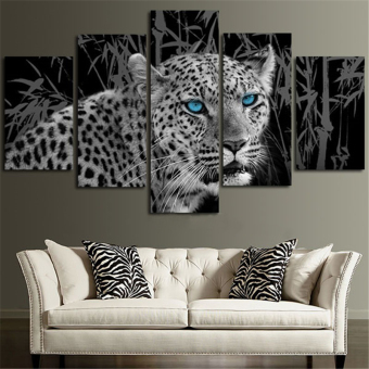5 Panel Home Decor Blue Eyes Leopard Black And White Animal CanvasPrints Wall Poster Pop Art Painting Picture (No Frame) - intl