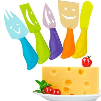 5 Pcs Cheese Knives Set Ultra-sharp Stainless Steel Slicer CutterCleaver Plastic Handle Fork Spreader(Colorful)