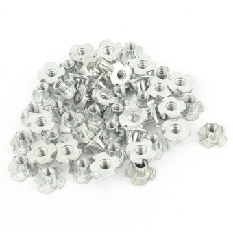 50Pcs 4 Prongs Carbon Steel Zinc Plated T-Nut Tee Nut M5 x 8mm - intl