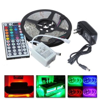 5M RGB 5050 Non Waterproof LED Strip light SMD 44 Key Remote 12V Power - intl