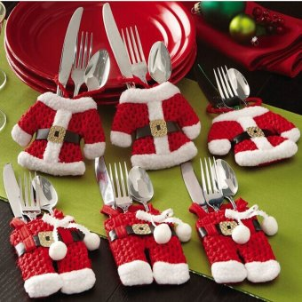 6 Piece Set of Christmas Decorations Santa Silverware Holders Pockets Dinner Decor (Red)