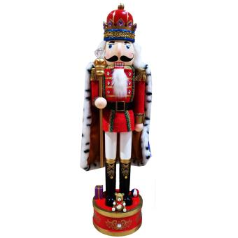 62 CM Christmas Decor Wooden King Nutcracker with Scepter (Red /Blue Shirt and Blue / Red Cape) Figurine for the Holiday (Made ofWood) by Everything About Santa (Christmas decoration and giftsuggestion)(Gold)