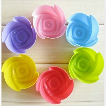 6/PCS Multi-color Silicone Cake muffin Cupcake Mold Round Shape Baking Mould 02# - Intl