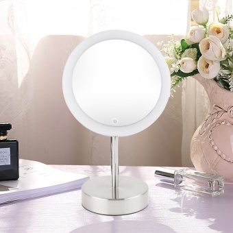 8 Inch Make-Up Mirror LED Single-Sided Make-Up Mirror Makeup Mirror With Light Touch Dimmer Mirror 8 Times Magnifying Glass - Intl