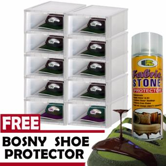 8 pcs Combo Hitop Drop Front Plastic Shoe Boxesstockable/Multi-purpose storage box (Clear) with Free Bosny FabricProtector Spray