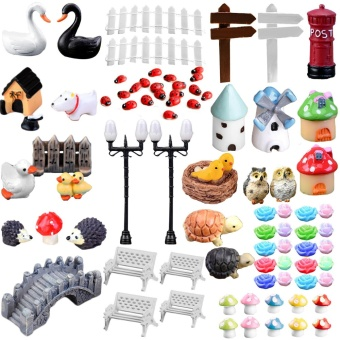 80Pcs Mini Miniature Ornaments Kit Set Toys Micro Landscape Accessories for Kids Child Adults DIY Fairy Garden Plant Pot Dollhouse Home Office Decoration - intl