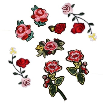 8PC Rose And Flower Floral Collar Sew Patch Applique BadgeEmbroidered - intl