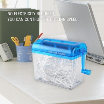 A6 Portable Mini Manual Paper Cut Shredder for Office Home School (blue) - intl