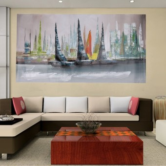 Abstract Large Wall Decor Modern Boat Oil Painting On Art Canvas (No Framed) - intl