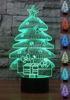 APTESOL 3D LED Christmas Night Lamp,Multi Color Change Button LED Desk Table Light Lamp Bedroom Children Room Decorative Night Light Toy Xmas Children Gift (Christmas tree,) - intl
