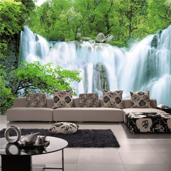 Art Deco Wallpaper Contemporary Wall Covering Canvas Paper 3DLandscapes Waterfall Large Mural Wallpaper (13'6''X8'3'') Price Philippines
