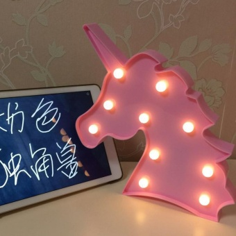 Baby Deserve Cute Unicorn Head LED Night Light Wall Lamp Baby KidsBedroom Home Decor Gift - intl