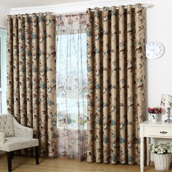 Beautiful Elegant Flowers Prints Blackout GYC2022-1 Curtain Blue