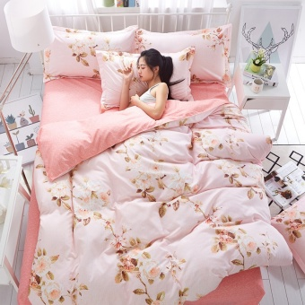 Bed Sheets Floral Print Bedding Sheet Set Pillowcases 4-Piece for girl lady single bed double bed - intl