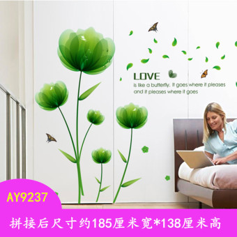 Bedroom bedside romantic flower stickers wall adhesive paper