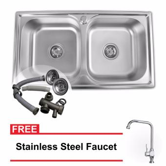 B.I.T. Stainless Steel Dual Tub Kitchen Sink (78x43x20) with FREEStainless Steel Faucet