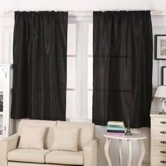 Blackout Thermal Solid Window Curtain Black - intl